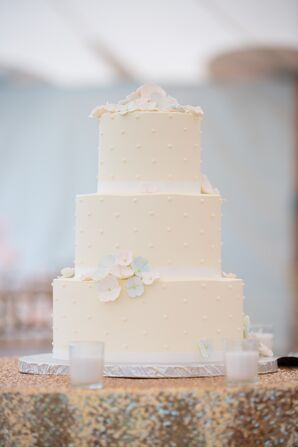 Swiss-Dot Cake With Pastel Flowers