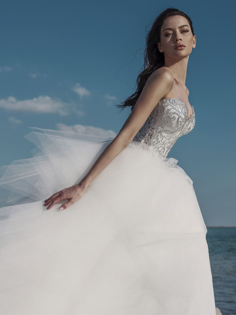 Pnina Tornai Spring 2020 Bridal Collection glamorous strapless ball gown with ruffled skirt