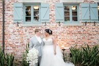 Ashley Parks (right, 39 and a stay-at-home mom for the couple's dog) and Yahaira Garcia (31 and an escrow assistant) said their vows surrounded by the