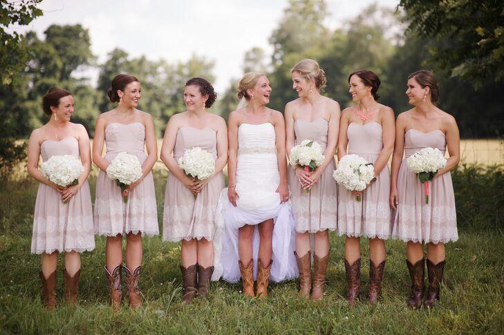 Neutral Bridesmaid Dresses With Lace Details