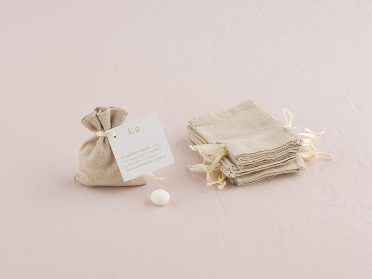 White linen favor pouches