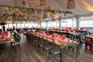 Modern Reception with Hanging Decorations and Pink Centerpieces