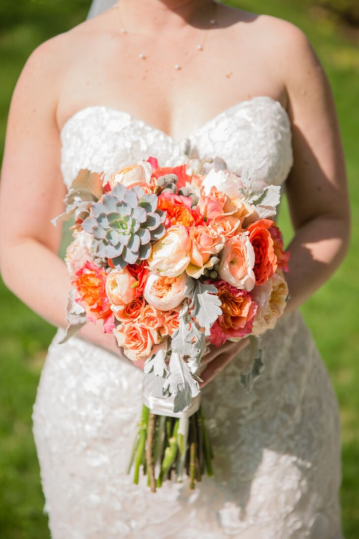 Peach Peony and Rose Bridal Bouquet