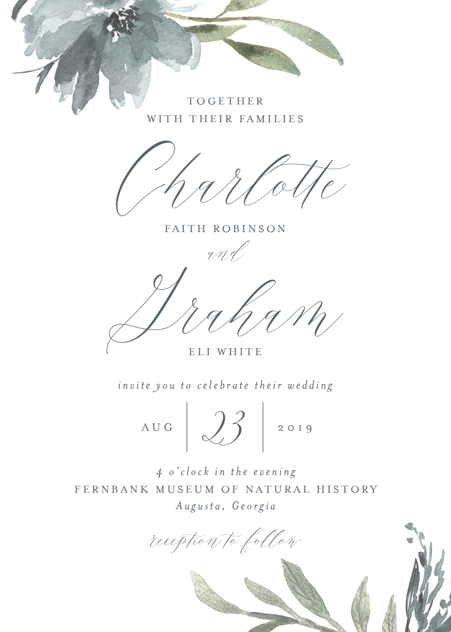 Customizable wedding invitation featuring a script font over a neutral background bordered by painterly flowers and greenery.