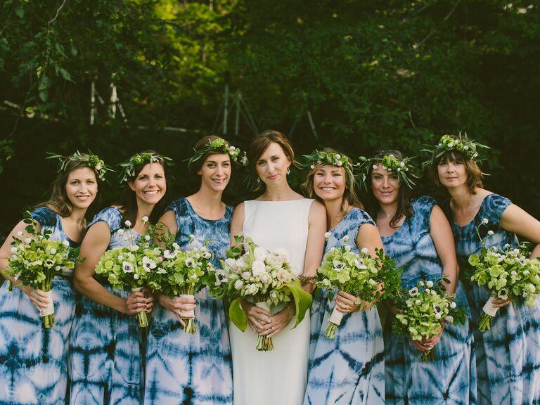 Tie-dye bridesmaid dresses