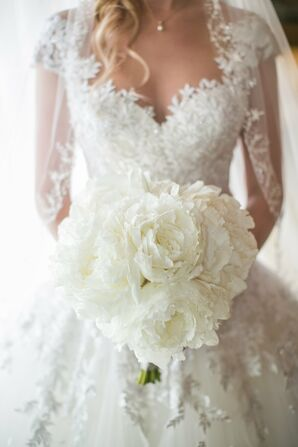 Glamorous Lace Wedding Gown, Large White Bouquet