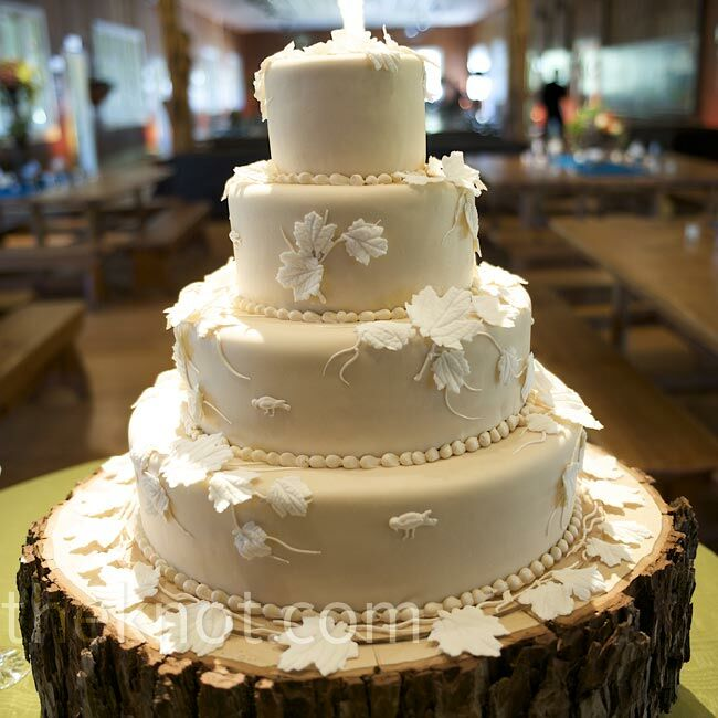 The round cake, covered with white fondant leaves, twigs, and birds, was displayed on a thick piece of pecan wood (made by Emily's dad).