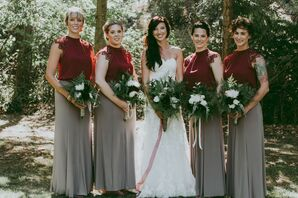 Crimson and Gray Bridesmaid Gowns