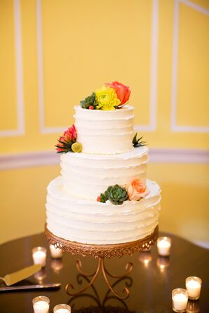 Buttercream Cake With Colorful Fresh Flowers