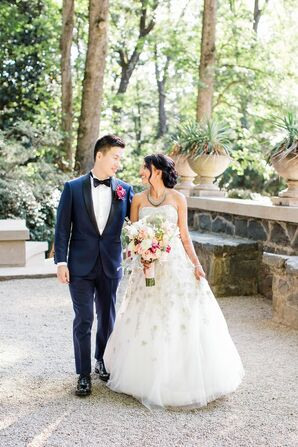Classic Couple with Midnight Blue Tuxedo and Beaded Ball Gown