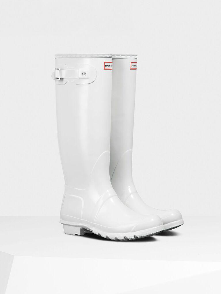 White rain boots for the bride
