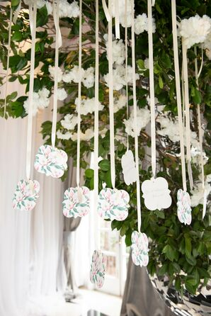 Hanging Paper Escort Cards with Ribbon