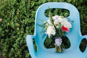 White Bridal Bouquet Shot on Blue Chair