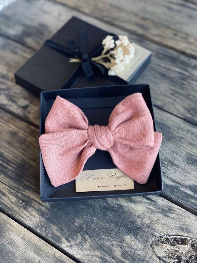 Pink hair bow for flower girl