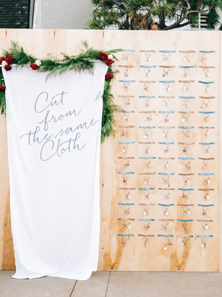 """The escort cards were affixed to gold tailoring scissors, a reference to the """"cut from the same cloth"""" theme."""