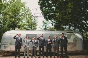 Gray Groomsmen Suits for Woodsy Forest Wedding