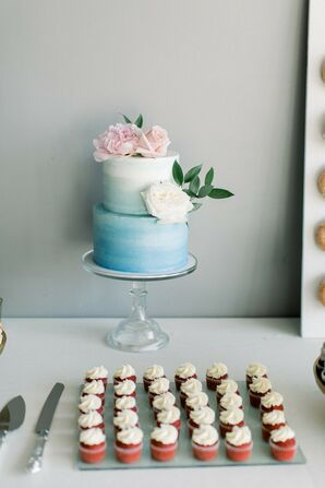 Blue Ombré Cake at Industrial Chic Wedding in Downtown Minneapolis