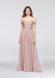 David's Bridal Collection David's Bridal Style 8120GR5D Off the Shoulder Bridesmaid Dress