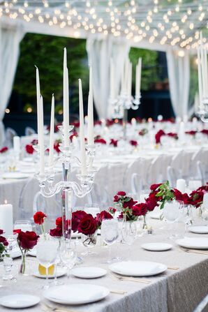 Classic Dining Tables with Red Roses and White Candelabras