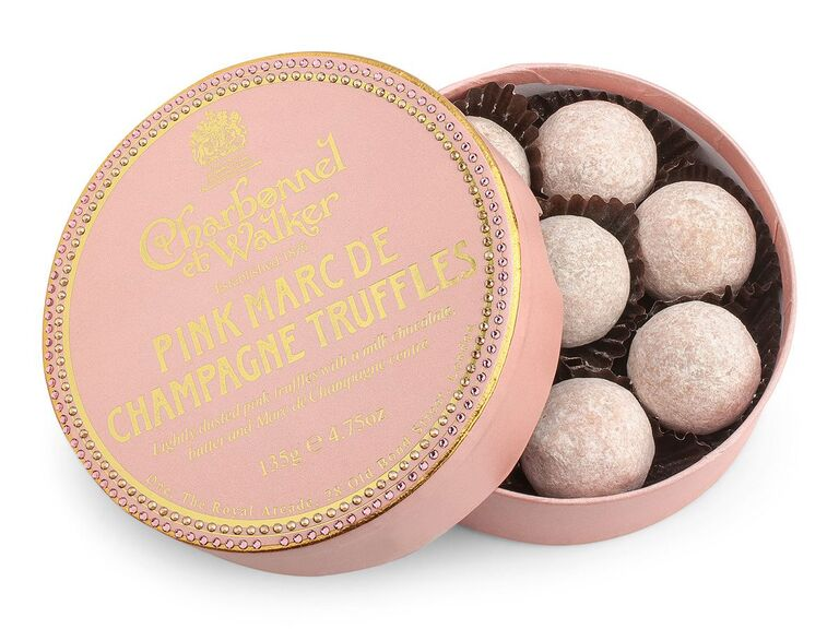 Champagne chocolate truffles bachelorette party gift