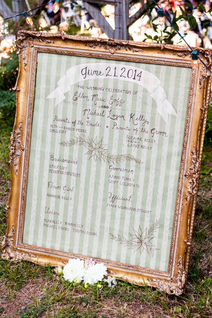 Instead of passing out programs, Ellen and Michael decided to give guests the lowdown on the ceremony with a single framed schedule. The wedding's date, their names and those of their officiant and wedding party were hand-calligraphed onto striped, floral paper and placed in a gilded frame, which Ellen scored at a local vintage market.