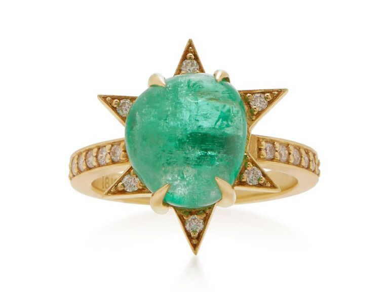 Emerald and diamond star-shaped engagement ring