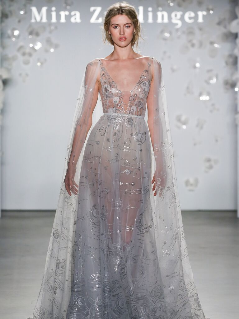 Mira Zwillinger Spring 2020 Bridal Collection sheer wedding dress with stunning cape