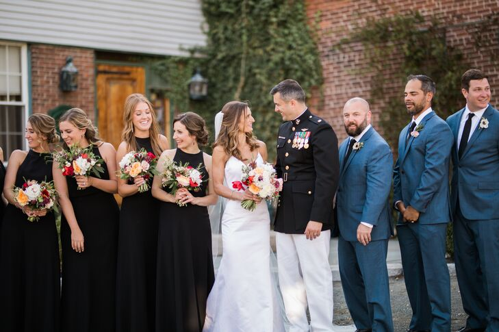 Bridesmaids in Black Gown and Groomsmen in Blue Suits