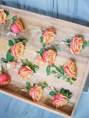 Ombré Coral Rose Boutonnieres