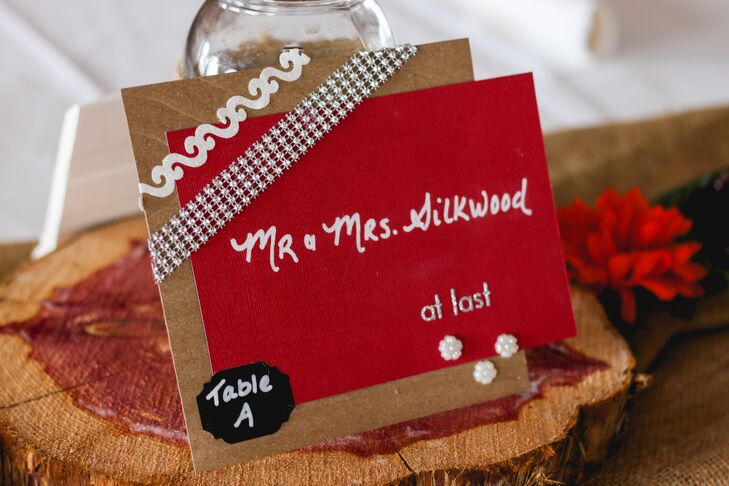 Handmade Rhinestone and Kraft Paper Place Cards