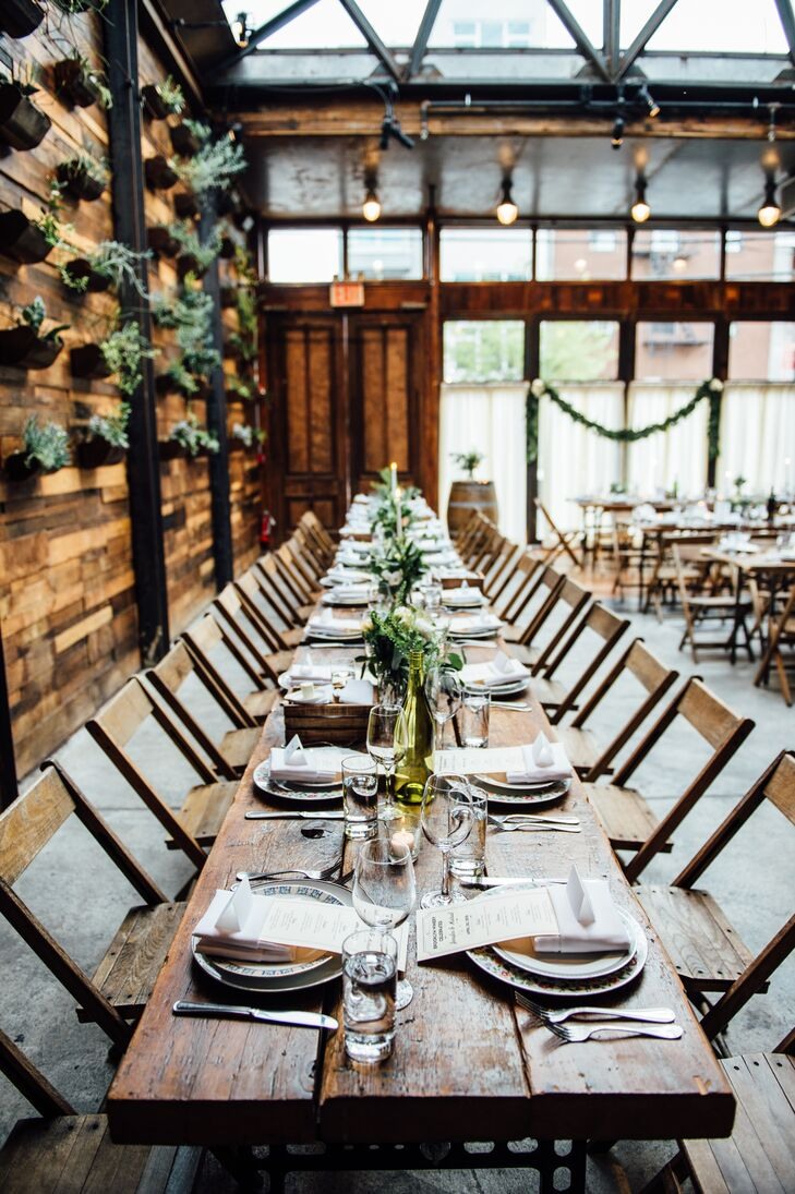 Long Wooden Farm-Style Reception Tables