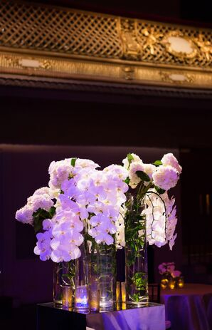 Tall Centerpieces with White Orchids and Hydrangeas