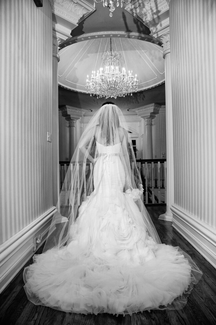 Brielle wore an elegant ruffled Maggie Sottero gown.