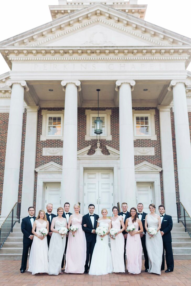 Wedding Party in Front of Perkins Chapel Columns