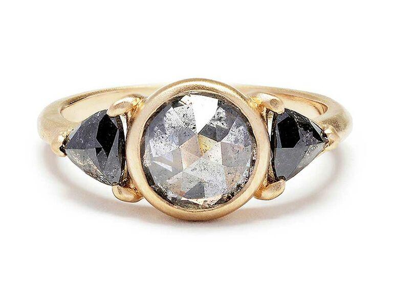 Gray rose-cut diamond engagement ring with black diamond side stones