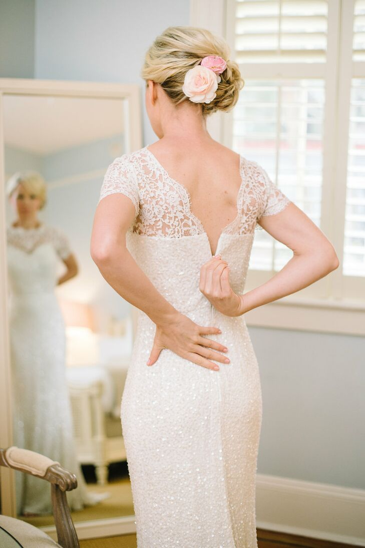 As an editor for a wedding magazine in Australia, Juliette knew right away that she wanted a chic Rachel Gilbert gown for her wedding. She loved the lace detailing on the top and sequins covering the rest of the dress, and the sheath silhouette made it light enough to travel with.