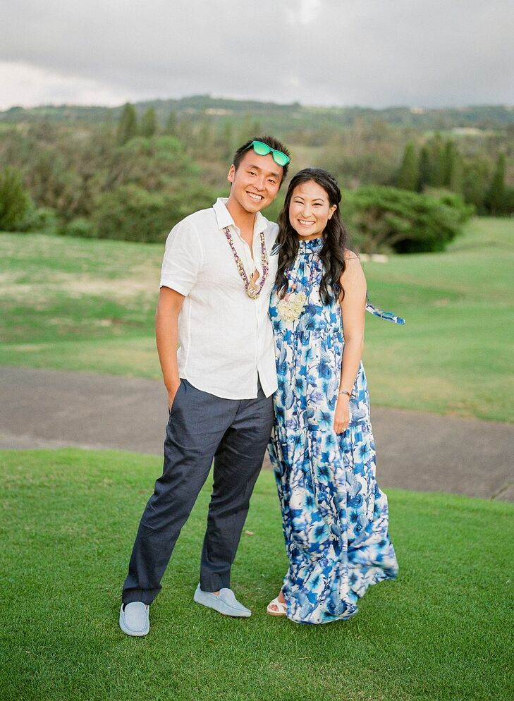 Couple in Beachy Attire at Welcome Party at Taverna in Kapalua, Hawaii