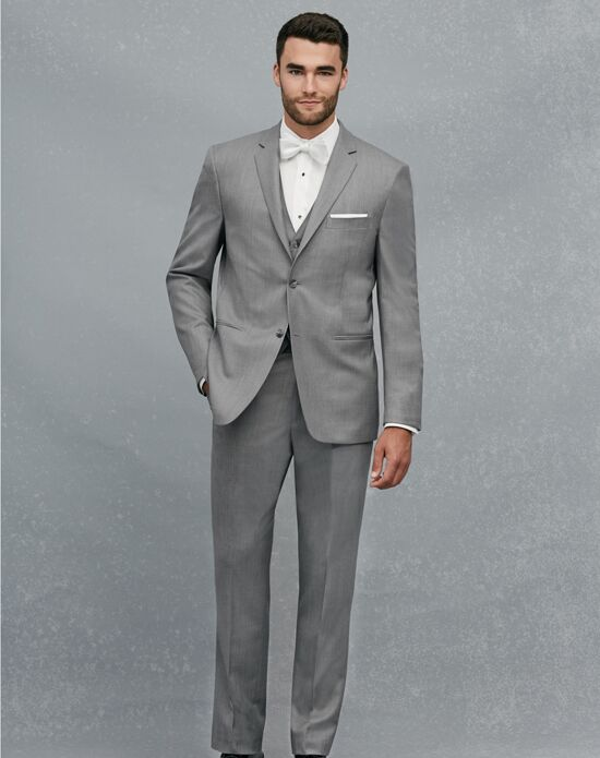 Jos. A. Bank 2-Button Notch Lapel Gray Suit Wedding Tuxedo - The Knot