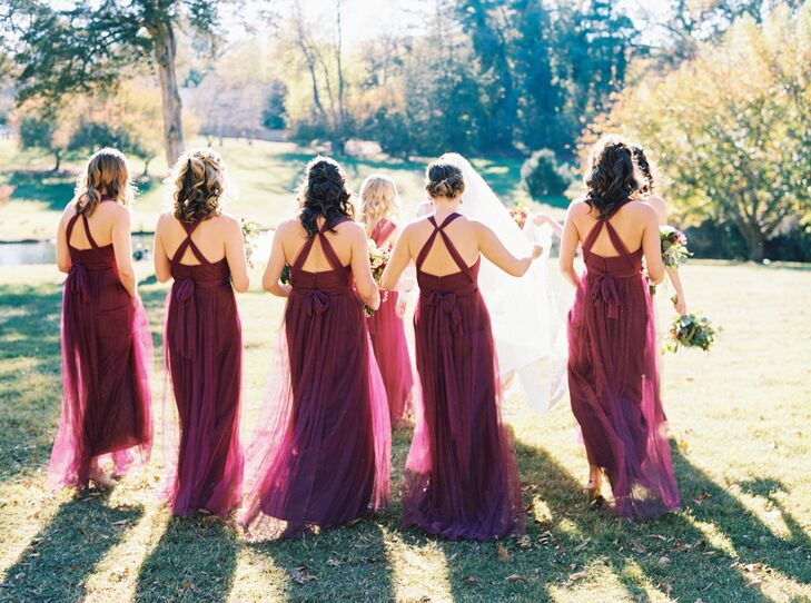 Bridesmaids in Burgundy X-Back Gowns