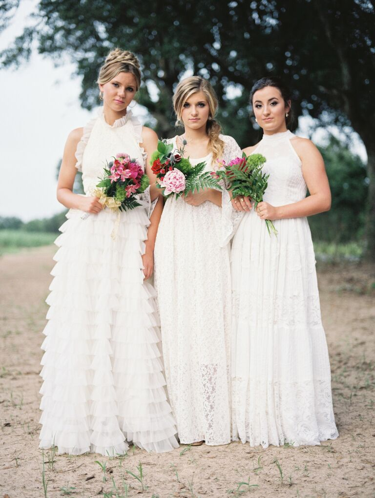 Southern tiered, lace, and ruffle wedding dresses