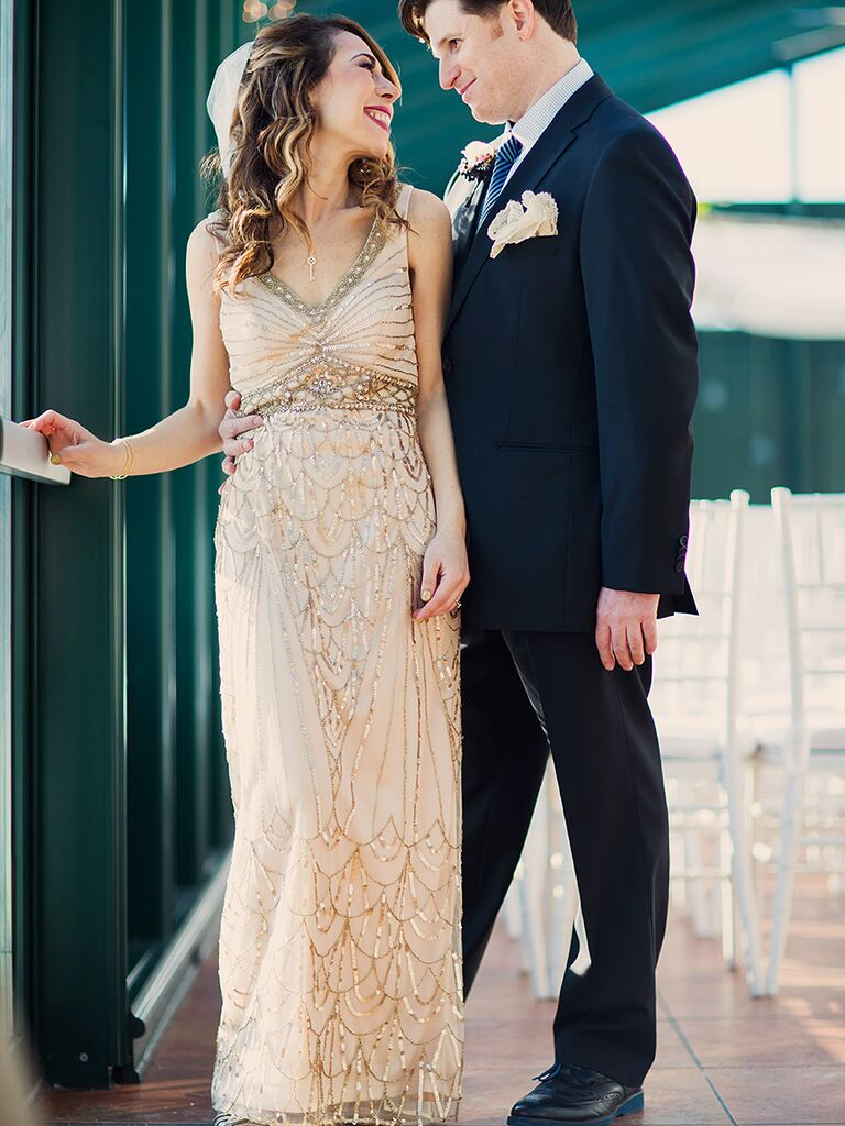 Art Deco Inspired Beading And Embellished Sue Wong Wedding Gown