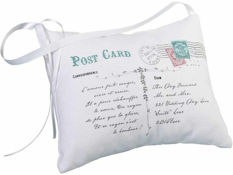 Mr /& Mrs ring bearer pillow with pretty flowers {hand embroidered with love}