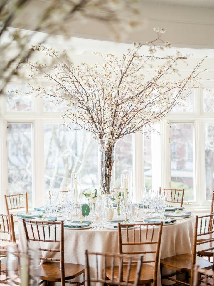 Cherry Blossom Centerpieces at Vermont Wedding Reception
