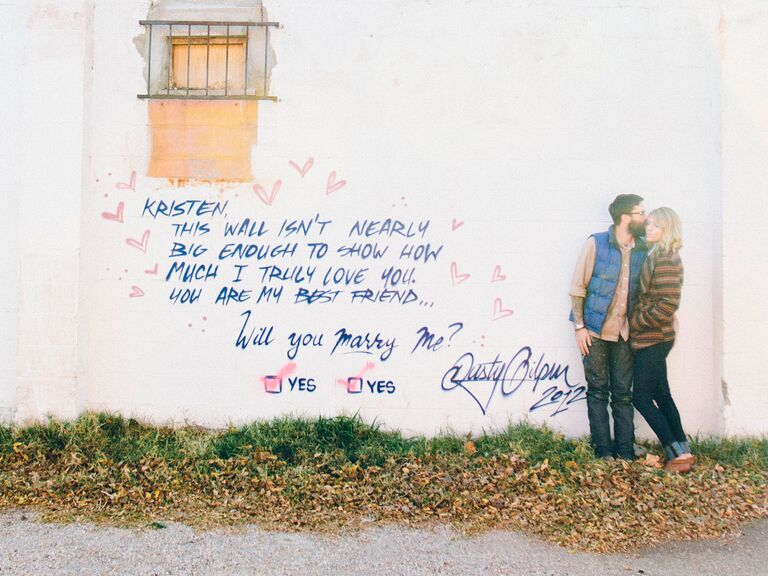 Homemade Marriage Proposal Ideas Graffiti I Love You
