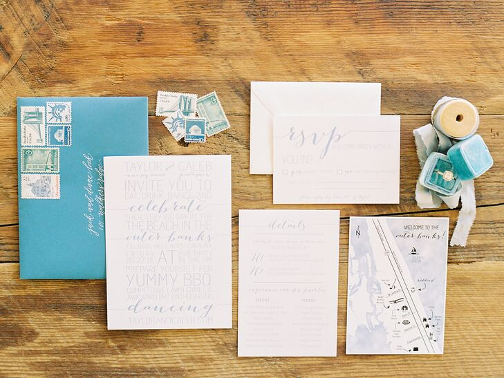 Taylor designed all the stationery herself and had it printed at the local print shop. Using faded blues and not being afraid of white space created a clean, modern aesthetic we love. It was also perfect for setting the tone for the casual beach fete at Caribbean Jewel in Kill Devil Hills, North Carolina.