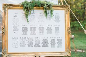 Elegant White Seating Chart in Gold Frame