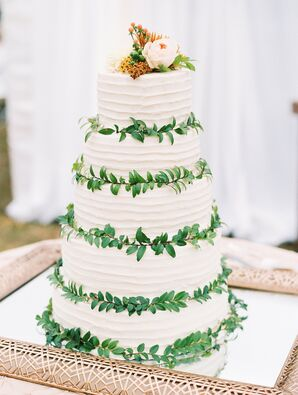 Vine-Trimmed Buttercream Cake on Mirrored Platter