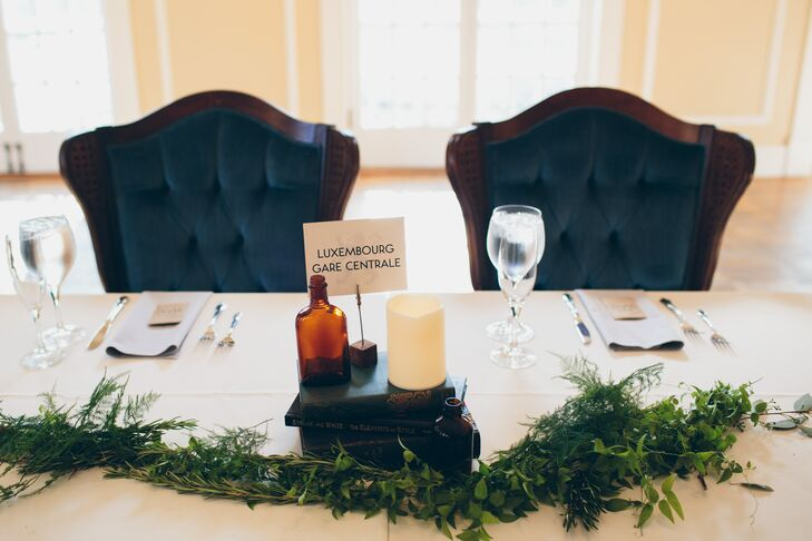 Blue Velvet Sweetheart Chairs with Book Centerpiece and Travel-Themed Table Number