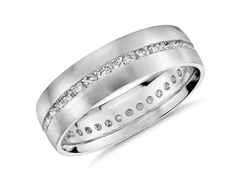 white gold male engagement ring with diamonds