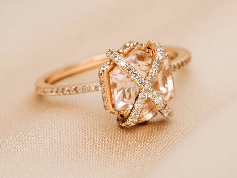 Hexagon-cut morganite engagement ring with X-shaped halo